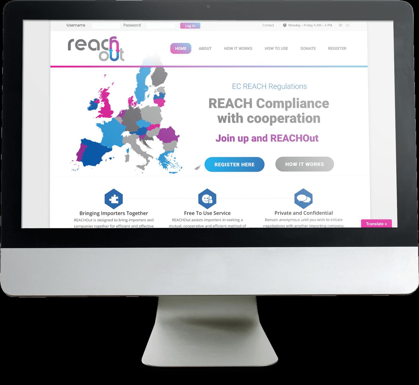 reachout website screenshot